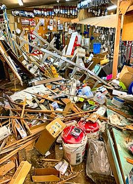 Here�s the huge mess caused by the errant pickup truck inside Wichita Feed & Hardware last November on Johnson Creek Boulevard. It took months to clean up, reorder, and repair � all done while also staying open during regular hours.