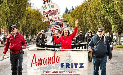 Commissioner Amanda Fritz marched, in 2019, in the �82nd Avenue of Roses Parade�.