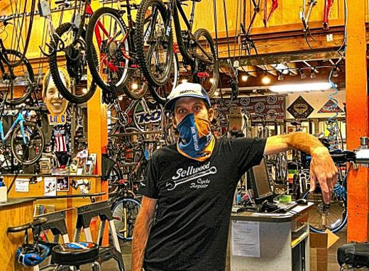 Erik Tonkin � no relation to car dealer Ron Tonkin � owner of Sellwood Cycle Repair, reports that bicycle repairs �at the door� have been brisk during the COVID-19 pandemic.