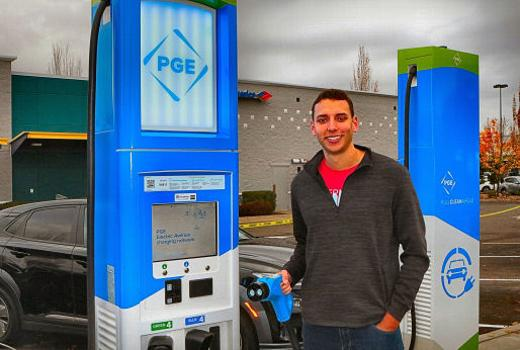 Electric car charging, first in Southeast, Eastport Plaza, 82nd Avenue, Southeast Portland, Oregon, PGE