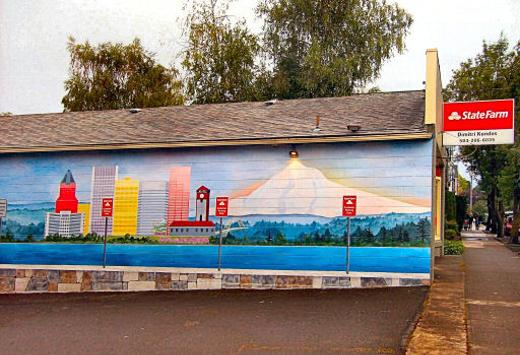 Insurance office, mural, Westmoreland, Southeast Portland, Oregon