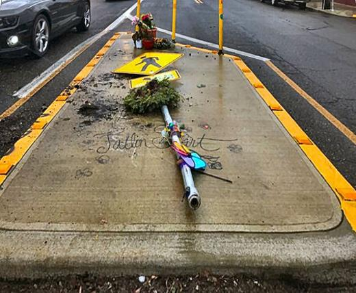 Memorial smashed, hit and run, Fallon Smart, Franklin High School, Hawthorne Boulevard, Southeast Portland, Oregon