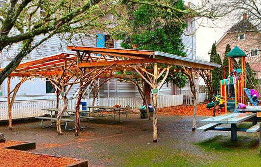 To be used both for schooling and for public events, the new volunteer-built rain sheltering Sellwood Community House �Outdoor Pavilion� is a valued addition.