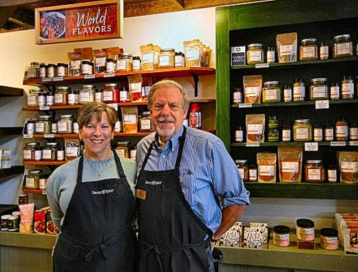 Owners Anne and Jim Brown have owned the Savory Spice Shop across from the Sellwood Branch Library since 2012. The store serves the community with customized proportions and mixes of hundreds of spices, as well as condiments and kitchen gadgets.